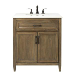 Walden 31 in. W Vanity in Driftwood Grey with Engineered Stone Vanity Top in Crystal White with White Sink