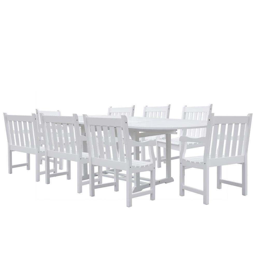 Vifah Bradley Acacia White 9-Piece Patio Dining Set with Oval Extension Table and Slat-Back Armchairs-DISCONTINUED