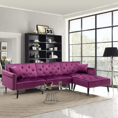 115 in. Purple Velvet 3-Seater Full Sleeper Sectional Sofa Bed with Tapered Legs