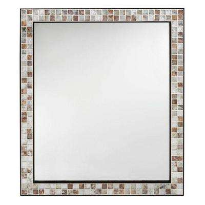 Briscoe 27-3/4 in. W x 32-1/2 in. L Wall Mirror in Espresso Marble Tile Frame