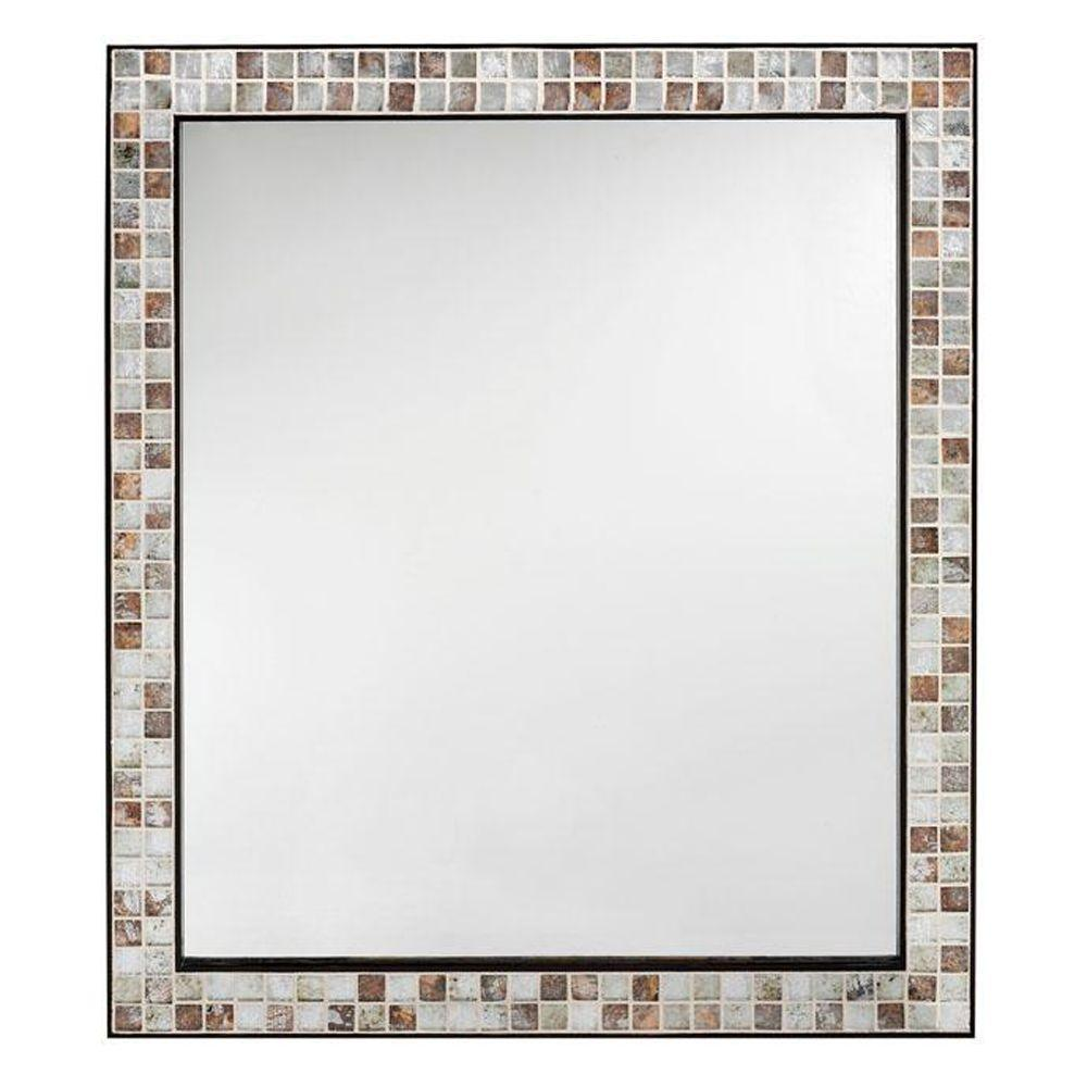 home depot vanity mirror Briscoe 28 in. W x 33 in. L Wall Mirror in Espresso Marble Tile  home depot vanity mirror