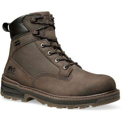 Men's Work Boot 6 Inch Resistor Brown Leather Composite Safety Toe Waterproof Size 8.5M