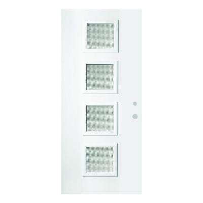 36 in. x 80 in. Evelyn Gingoshi 4 Lite Painted White Left-Hand Inswing Steel Prehung Front Door