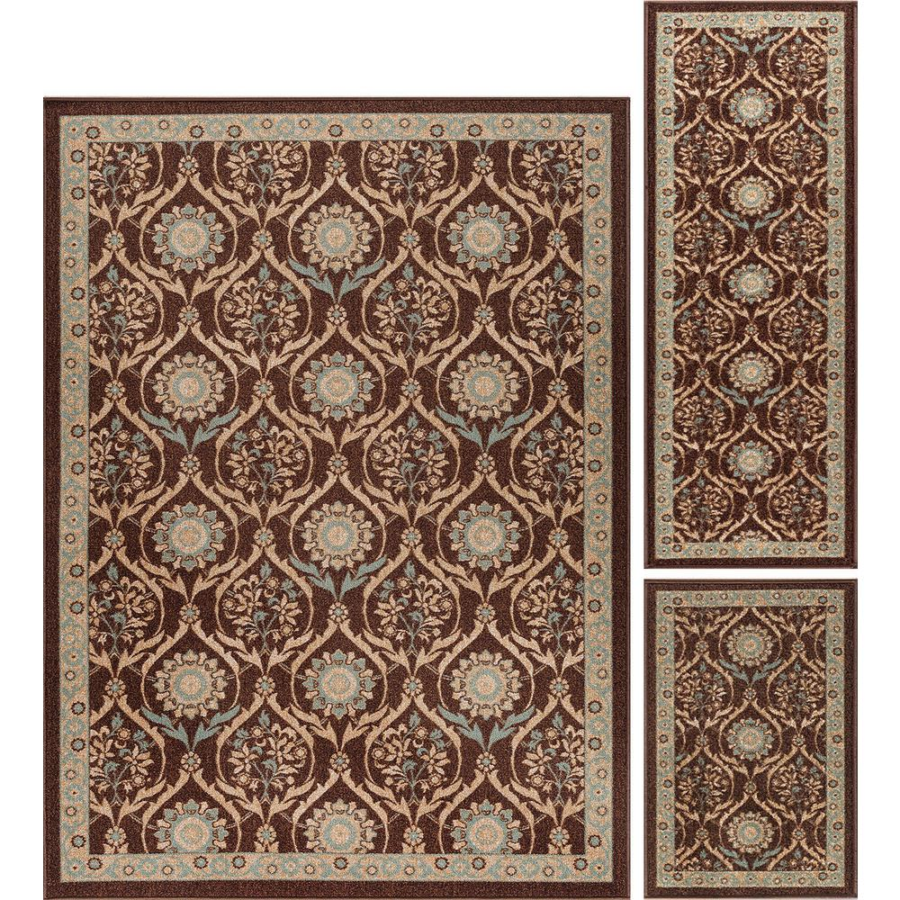Majesty Brown 5 ft. x 7 ft. 3-Piece Rug Set