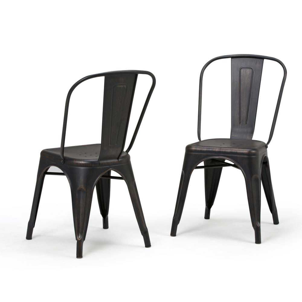 Simpli Home Merritt Distressed Black And Copper Metal Dining Arm Chair (Set  Of 2)