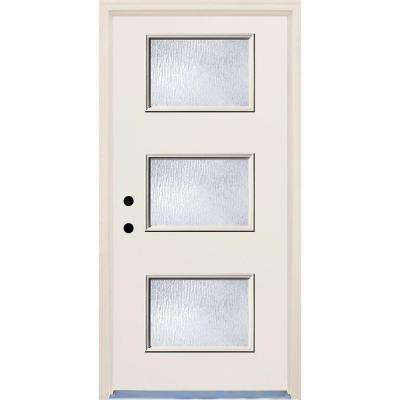36 in. x 80 in. Right-Hand 3 Lite Rain Glass Unfinished Fiberglass Raw Prehung Front Door with Brickmould