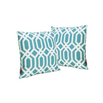 Manduka Dark Teal and White Arabesque Pattern Square Outdoor Throw Pillow (2-Pack)