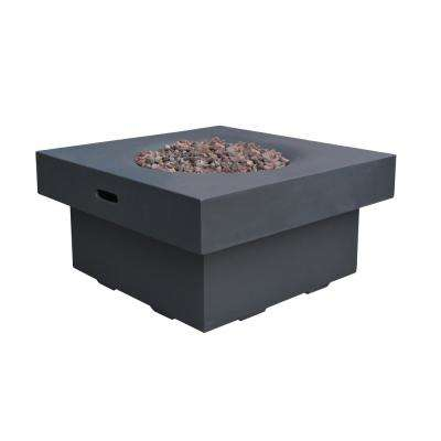 Branford 34 in. x 17 in. Square Concrete Natural Gas Fire Pit Table in Black