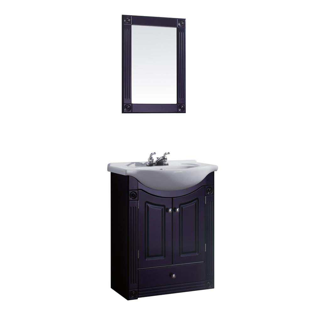 Dreamwerks 24 in. W Vanity in Rich Chocolate Color with Ceramic Vanity Top in White with White Basin and Mirror