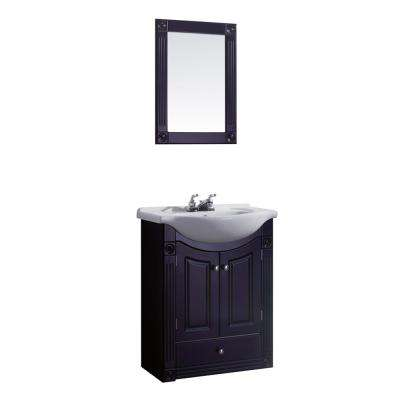 24 in. W Vanity in Rich Chocolate Color with Ceramic Vanity Top in White with White Basin and Mirror