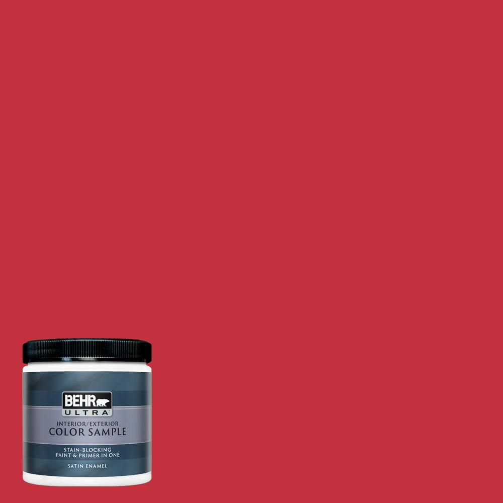 Behr Ultra 8 Oz 150b 7 Poinsettia Satin Enamel Interior Exterior Paint And Primer In One Sample Ul22316 The Home Depot