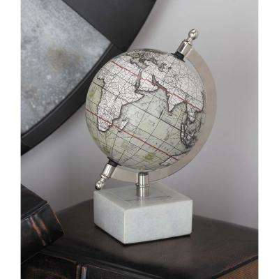8 in. x 5 in. Modern Decorative Globe in White and Silver
