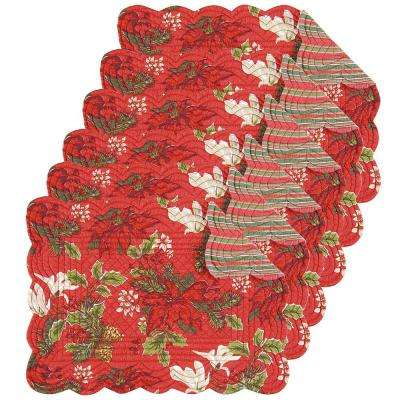 Poinsettia and Pine Red Placemat (Set of 6)
