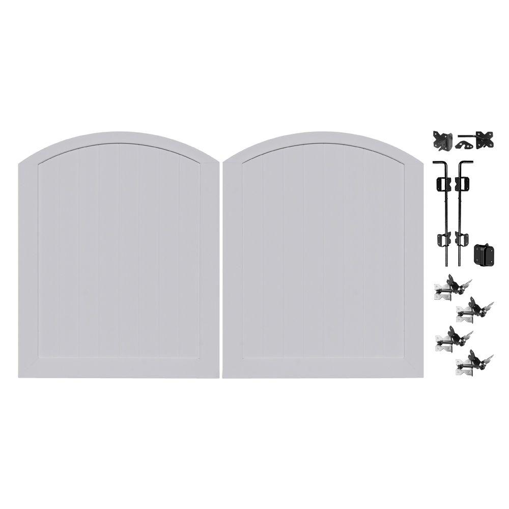 Veranda Pro Series 5 ft. W x 6 ft. H Seacoast Gray Vinyl Anaheim Privacy Double Drive Through Arched Fence Gate