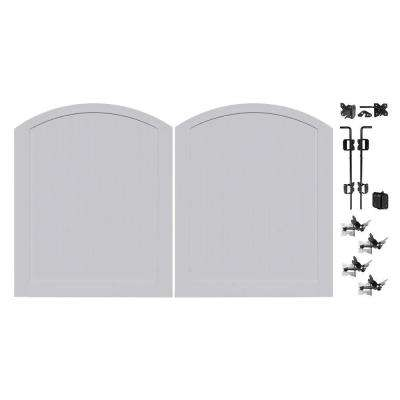 Pro Series 5 ft. W x 6 ft. H Seacoast Gray Vinyl Anaheim Privacy Double Drive Through Arched Fence Gate