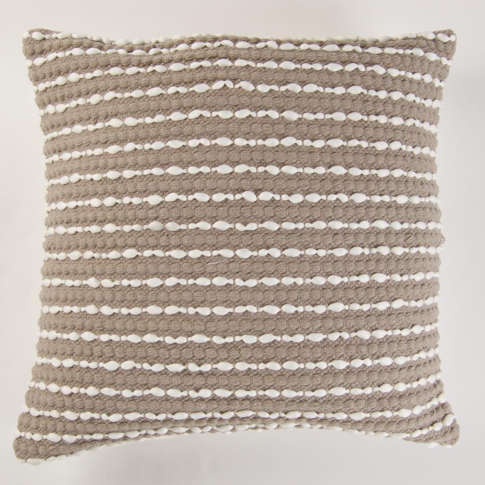 Handwoven Textured Pillow in Grey
