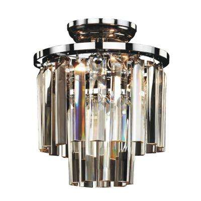 Timeless 3-Light Tri-Cut Glass and Chrome Frame Flush Mount