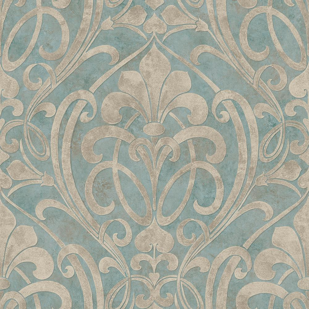 Chesapeake zoe ocean coco damask wallpaper vir98265 the for Damask wallpaper