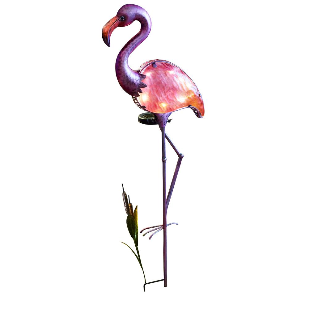 Moonrays 17 in. Solar Integrated LED Flamingo Pathway Stake Light
