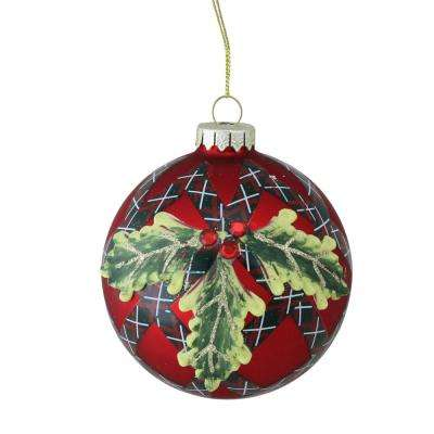 4 in. (100 mm) Holiday Moments Geometric Plaid Mistletoe Ball Glass Christmas Ornament