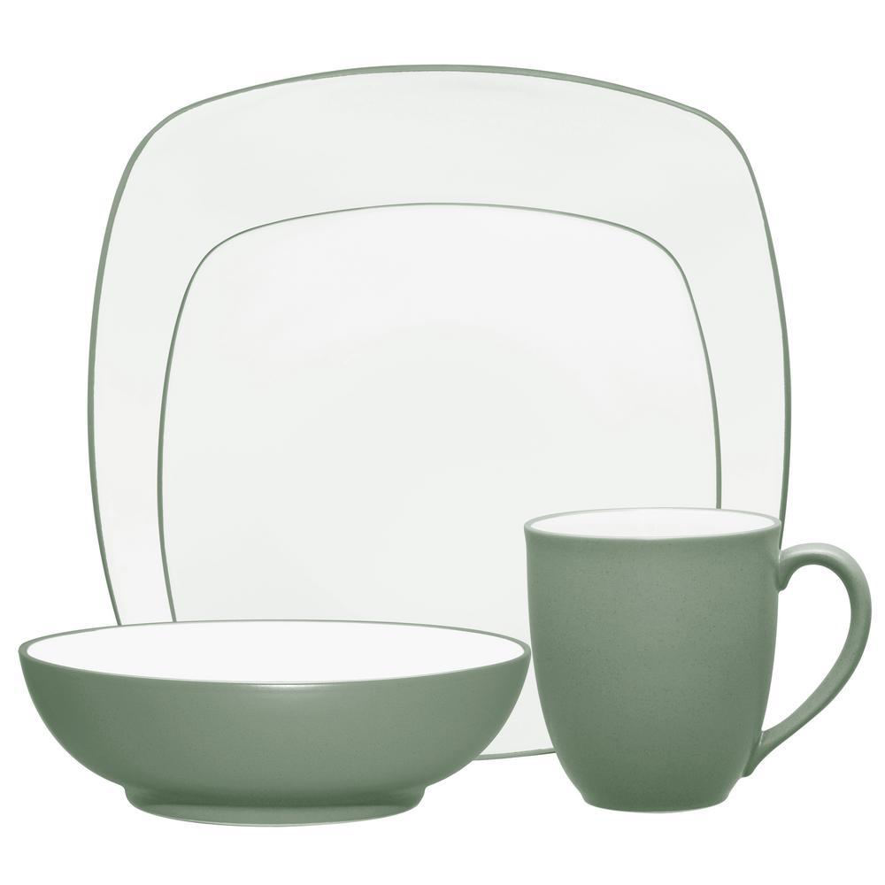 Colorwave 4-Piece Green Square Dinnerware Set