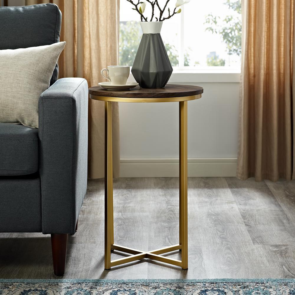 16 in. Dark Walnut/Gold Mid Century Modern X-Base Side Table
