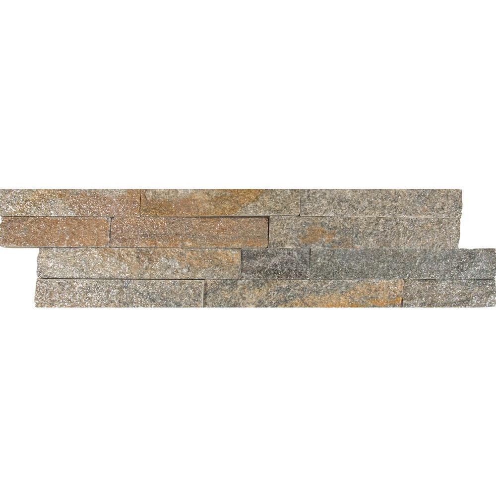 Amber Falls Ledger Panel 6 in. x 24 in. Natural Quartzite