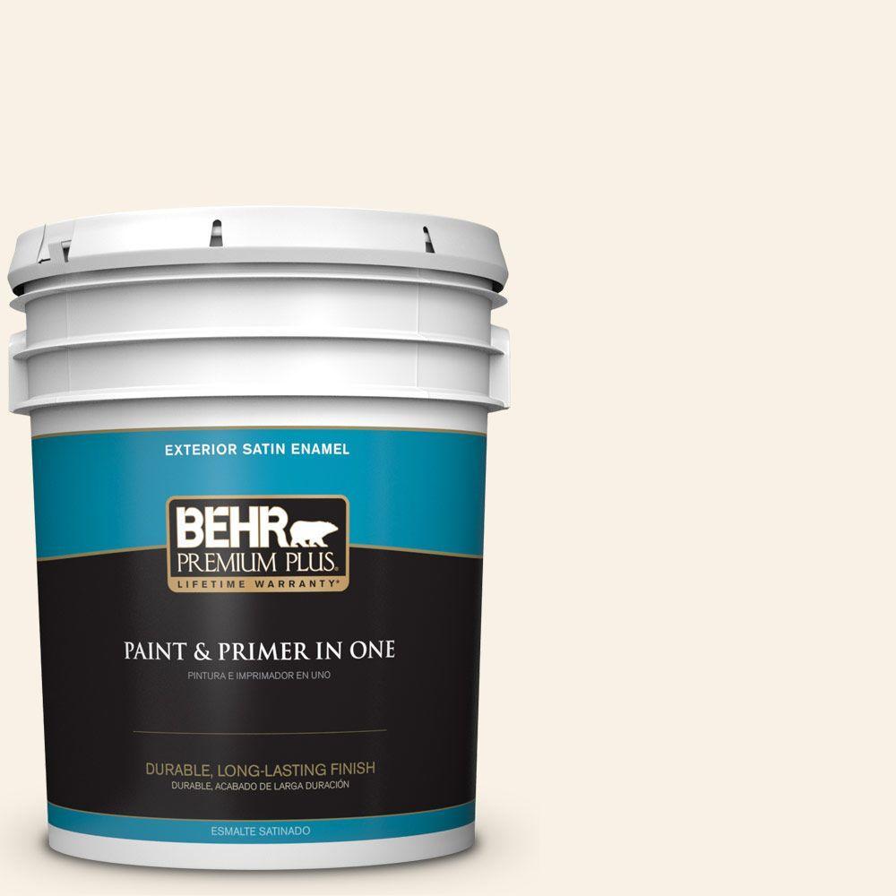 BEHR Premium Plus 5-gal. #YL-W9 Spun Cotton Satin Enamel Exterior Paint