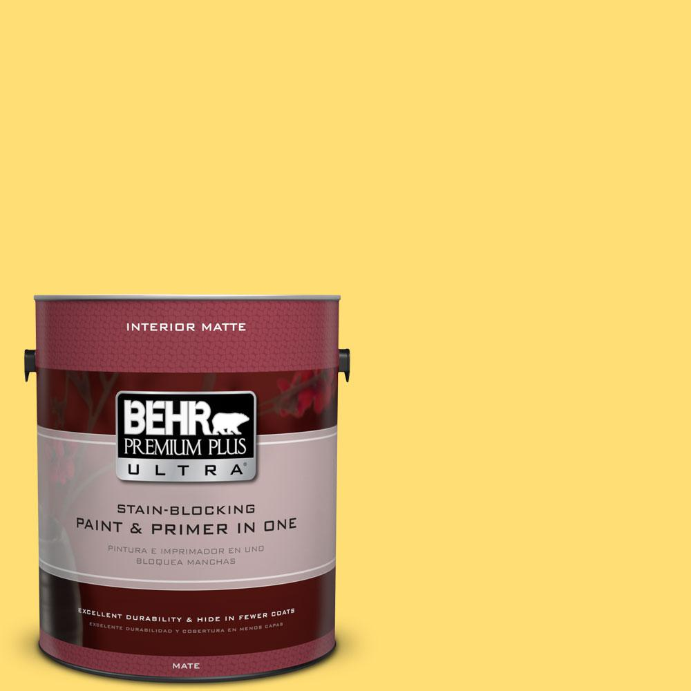 BEHR Premium Plus Ultra 1 gal. #370B-5 Sun Shower Matte Interior Paint and Primer in One