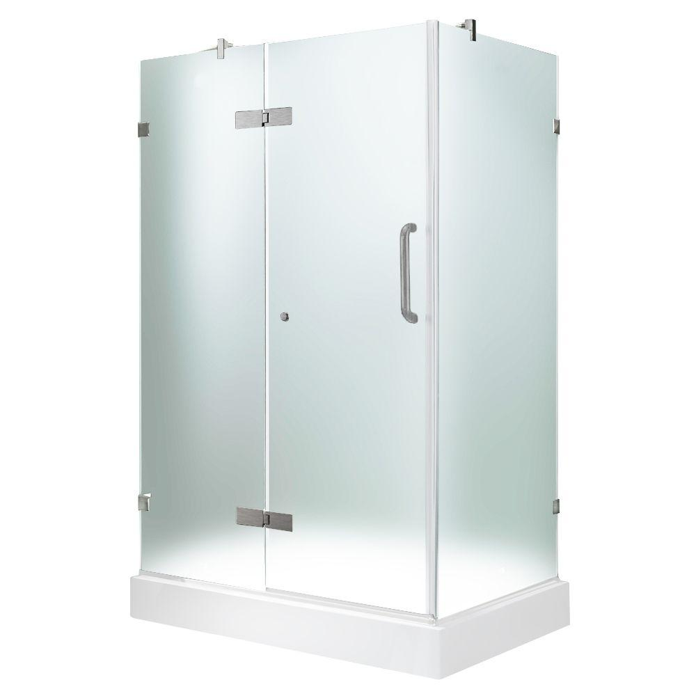 Vigo 32-3/8 in. x 40-1/4 in. x 79-1/4 in. Frameless Pivot Shower Door in Brushed Nickel with Frosted Glass with Left Base