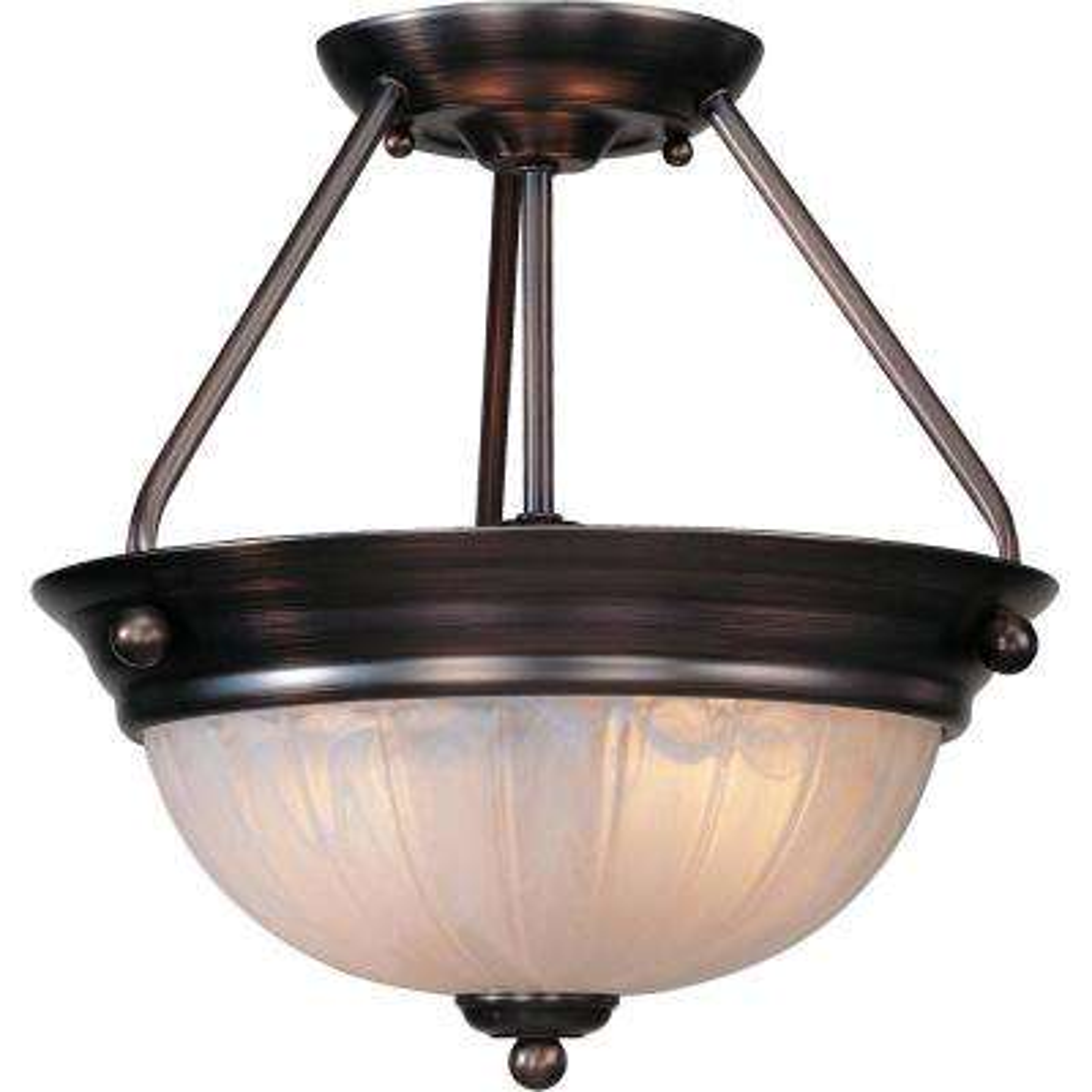 Marti 2-Light Indoor Antique Bronze Semi-Flush Mount Ceiling Fixture with Alabaster Melon Glass Bowl