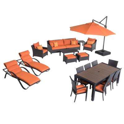 Deco Estate Wicker 20-Piece Patio Conversation Set with Sunbrella Tikka Orange Cushions