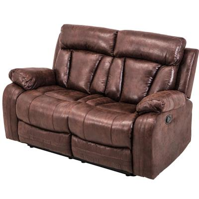 Brown Motion Sectional Loveseat Chaise Reclining Couch Sofa Leather Accent Chair (2-Seats)