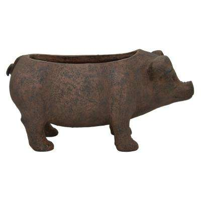 17.5 in. x 9 in. x 8.5 in. Brown Pig Planter
