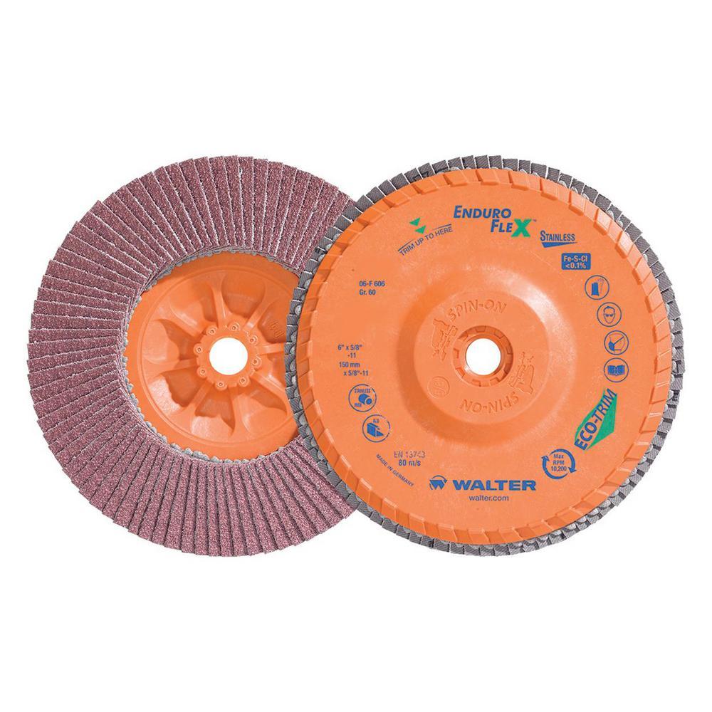 ENDURO-FLEX Stainless 6 in. x 5/8-11 in. Arbor GR60, Blending Flap Disc (10-Pack)