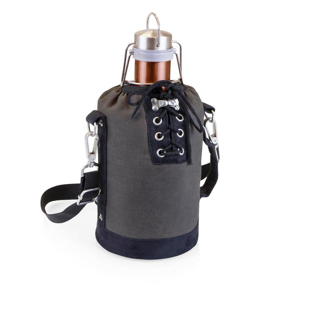 Grey and Black Insulated Growler Tote with 64 oz. Copper Stainless