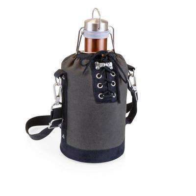 Grey and Black Insulated Growler Tote with 64 oz. Copper Stainless Steel Growler