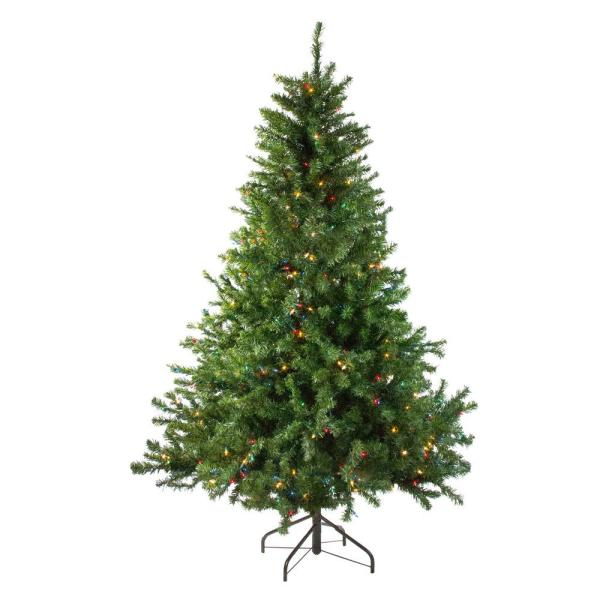 6 ft. Pre-Lit Canadian Pine Artificial Christmas Tree with Multi Lights