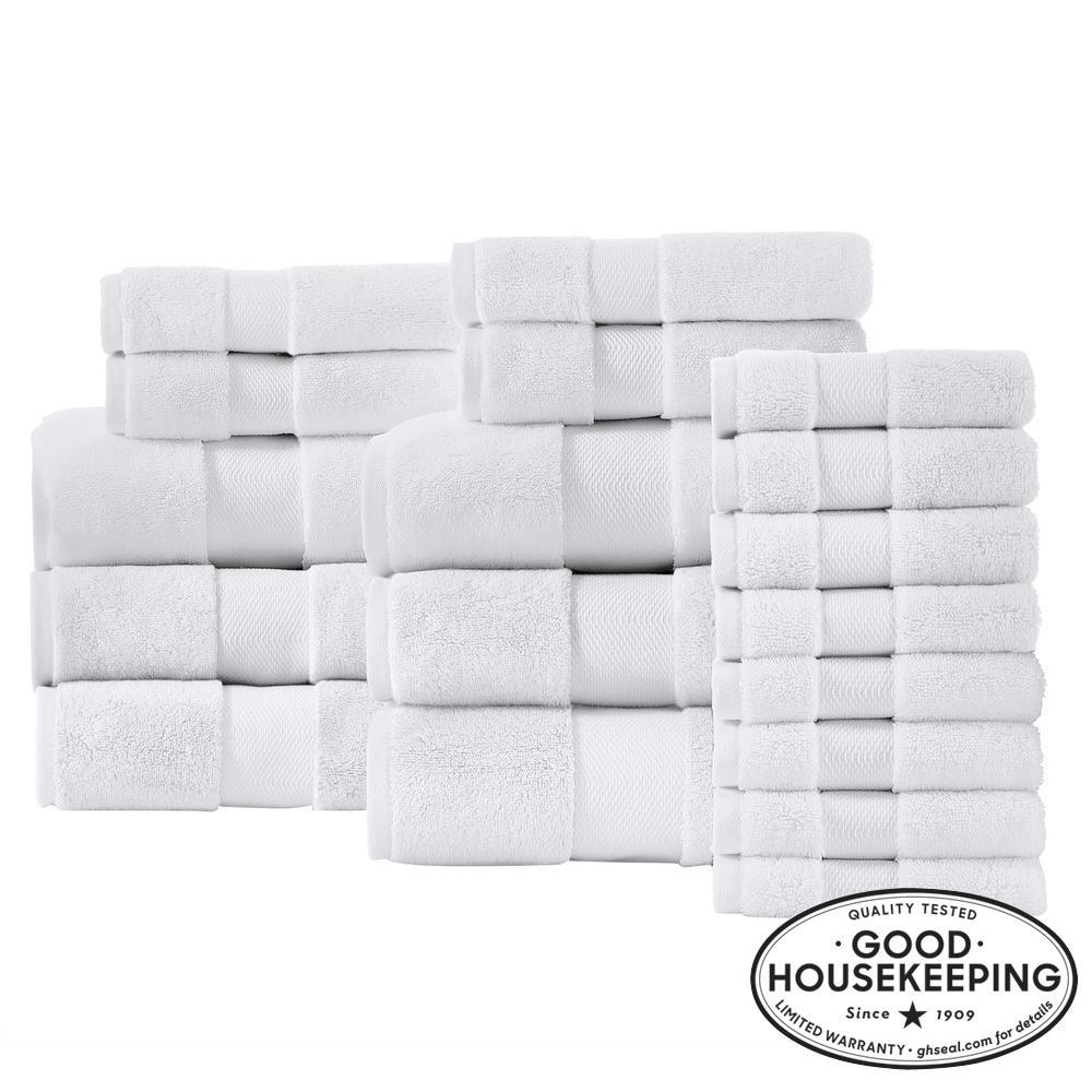 Plush Soft Cotton 18-Piece Towel Set in White