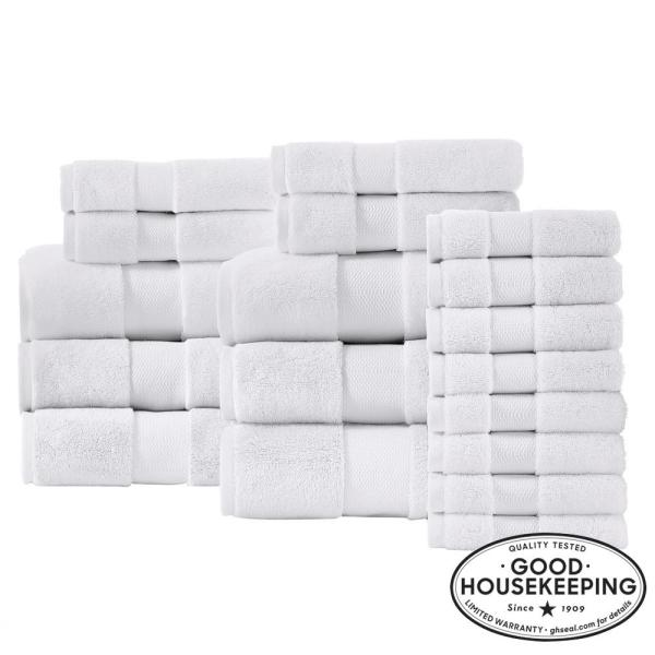 Home Decorators Collection Plush Soft Cotton 18 Piece Towel Set In White 91306abhww18 The Home Depot