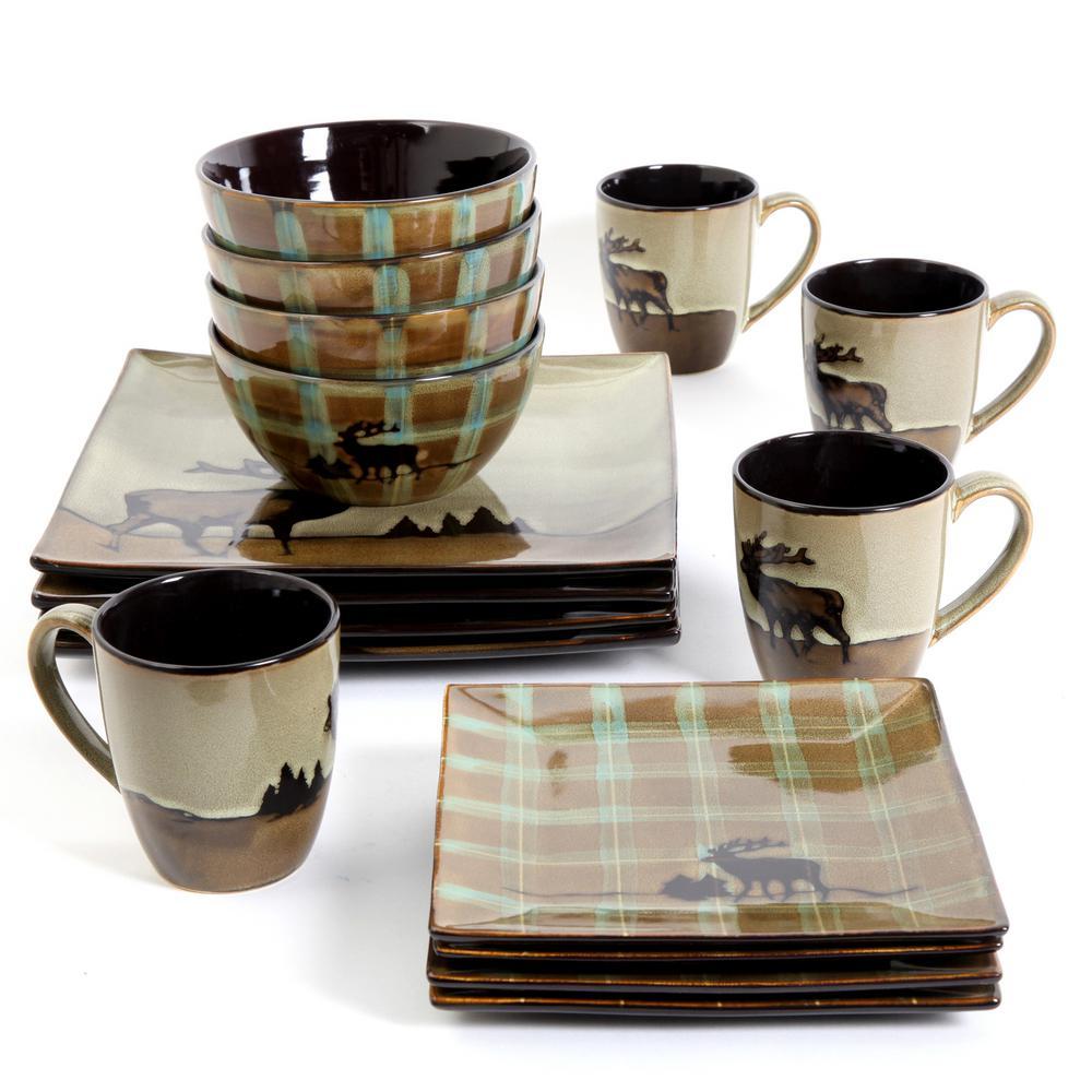 Roaming Elk 16-Piece Brown Square Dinnerware Set