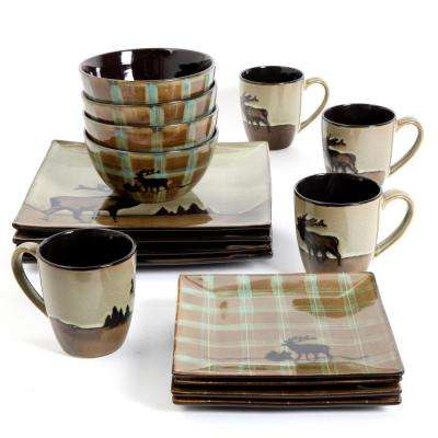 Roaming Elk 16-Piece Brown Square Dinnerware Set
