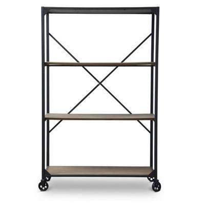 Caribou Natural and Black Open Bookcase
