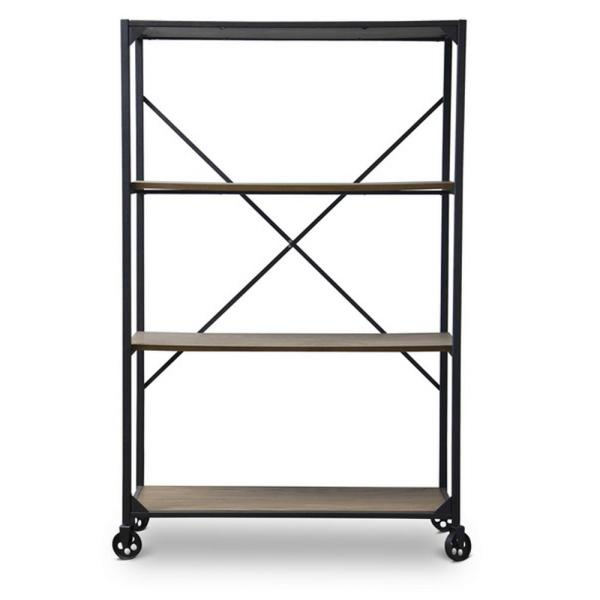 Baxton Studio Caribou Natural and Black Open Bookcase 28862-5496-HD