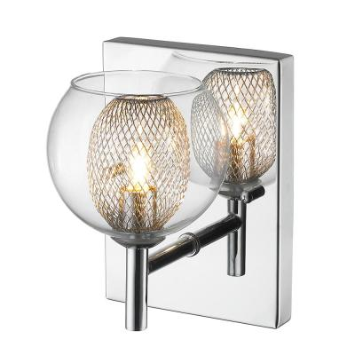 1-Light Chrome Sconce with Chrome Glass and Steel
