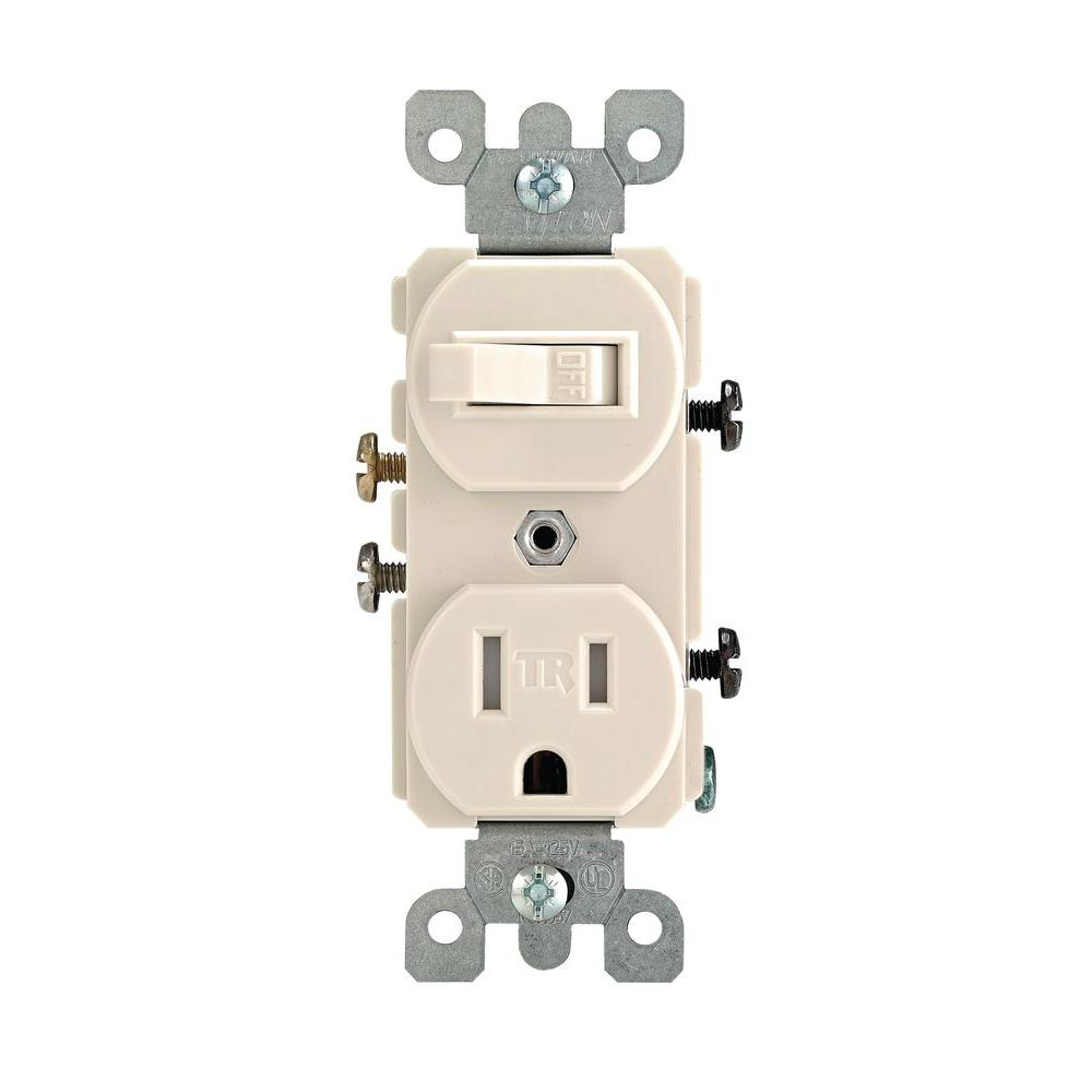 Leviton 15 Amp Tamper Resistant Combination Switch Outlet Light Wiring House Receptacle Almond