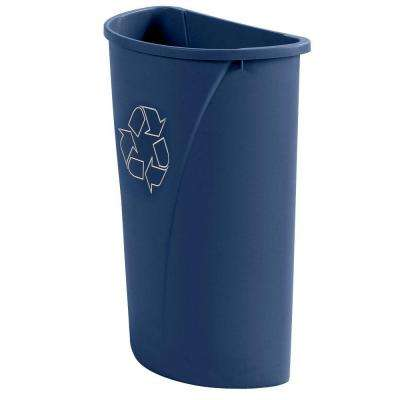 21 Gal. Blue Half Round Trash Can Imprinted with Recycling Logo (Case of 4)