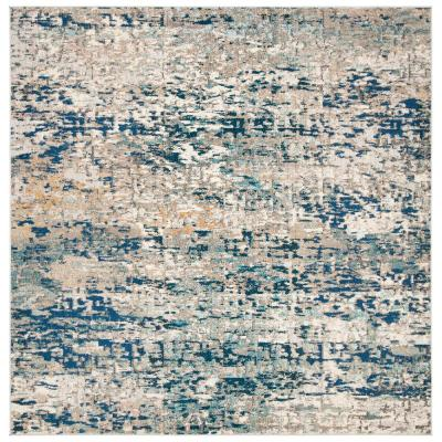Madison Grey/Blue 7 ft. x 7 ft. Square Area Rug