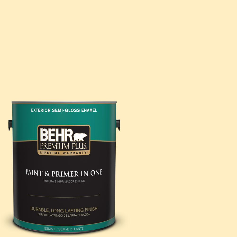 BEHR Premium Plus 1-gal. #380A-2 Moonlit Yellow Semi-Gloss Enamel Exterior Paint