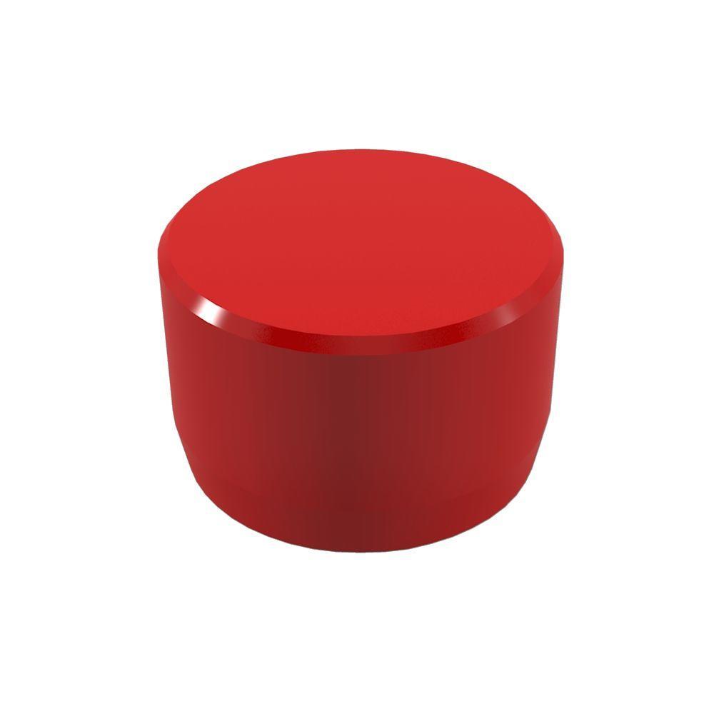 1/2 in. Furniture Grade PVC External Flat End Cap in Red
